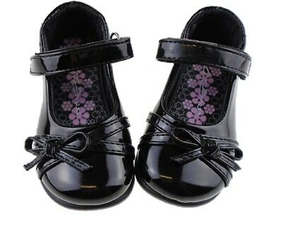 Infant Girls Black Patent Back to School Shoes Formal Sizes UK 4 EU 20 to UK 12