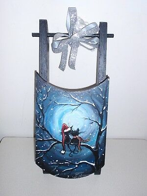 One of a Kind, Painted Christmas CATS on Sleigh Sled ~ Artist Signed Pet CHARITY