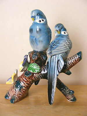 Lovely Blue Parakeets Perched On Branch Animal Figurine Support Wildlife Rehab
