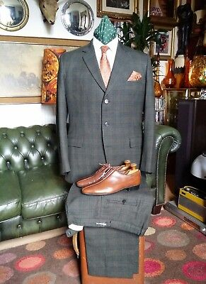 Vintage 60s Mad Men Mod Checked Hardy Amies Hepworth's Wool Suit.Large-XL 44-45c