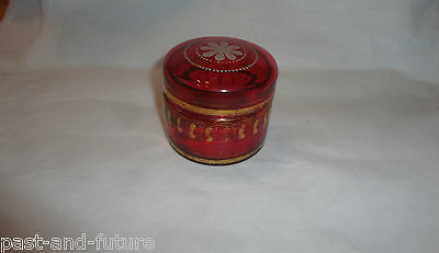 "Victorian Cranberry Glass Gold Painted Jar, 2"" By 2 1/2"", Not Flashed"
