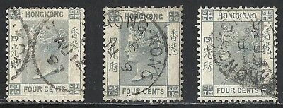 HONG KONG SCOTT 38 USED x 3 - 1896 4c SLATE   QUEEN VICTORIA ISSUES
