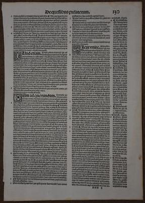 1524 Lectura Super V Libris Decretalium Single incunable Leaf Printed by Jenson