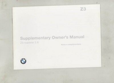 1997 BMW Z3 Roadster 2.8 MINT ORIGINAL Owner's Manual Supplement wy9977