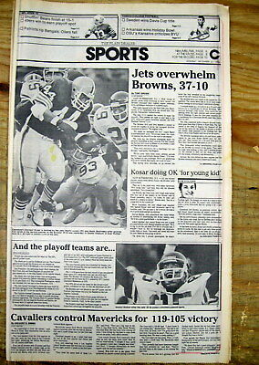 Best 1985 newspaper CLEVELAND BROWNS are WORST TEAM toMAKE NFL football playoffs