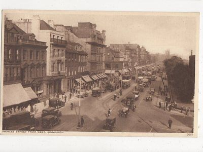 Princes Street From West Edinburgh Vintage Postcard 437a