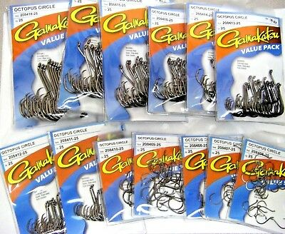 GAMAKATSU #208 OCTOPUS CIRCLE HOOKS Value Packs OFFSET ALL SIZES 8/0 through 8
