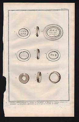 Engraving Picart 1728 HIEROGLYPH JEWELRY THE MOLUCCAS