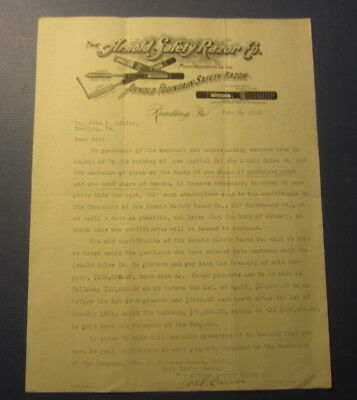 Old 1910 ARNOLD Fountain SAFETY Razor Co. - Letterhead Document - READING PA.