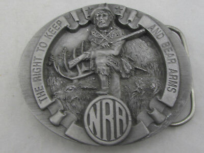 """Vintage Bergamot """"NRA The Right To Keep And Bear Arms"""" Pewter Belt Buckle 1995"""