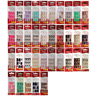 KISS* 24pc FASHION DESIGN Oval/Square SHORT-MEDIUM NAILS Press-On *YOU CHOOSE*