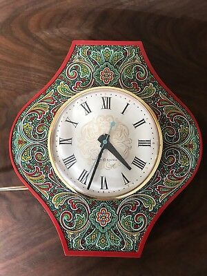 VINTAGE MID CENTURY GE General Electric Red 1950s Wall Clock WORKS