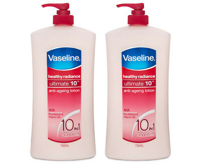 2 x Vaseline Healthy Radiance Ultimate 10-in-1 Anti-Ageing Lotion 750mL