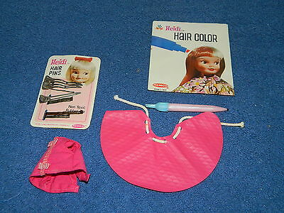 Small Lot of Remco Heidi Accessories - Hair Color Instruction Booklet Cape Pins