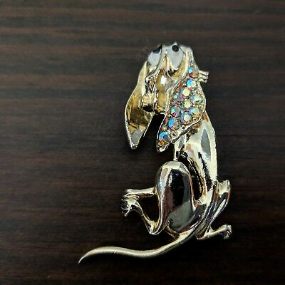 Vintage Basset Hound Dog Puppy Pin with Rhinestones Jewelry What a Beauty