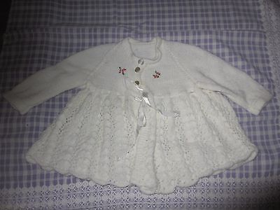 Vintage  Baby knitted cardigan White with Roses,beautifully handmade by grandma
