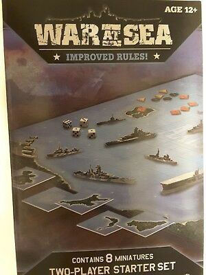 Axis & Allies War at Sea Naval Miniatures Improved Rules Starter Set Kit -sealed