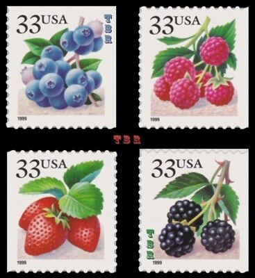 3294-97 3294 3295 3296 3297 Fruit Berries 4 Singles From Pane Set MNH - Buy Now