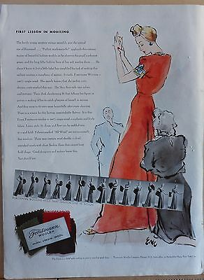 1940 magazine ad for Forstmann woolens, First lesson Modeling, Carl Erickson art