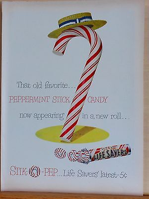 1950 magazine ad for Life Savers Stik-O-Pep - colorful candy cane with straw hat