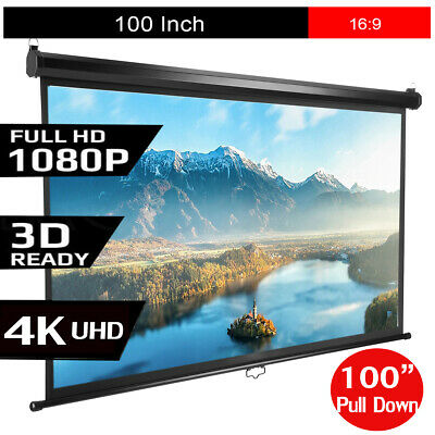 """Portable 100"""" Pull Down Projector Screen Home Theatre HD TV Outdoor Projection"""