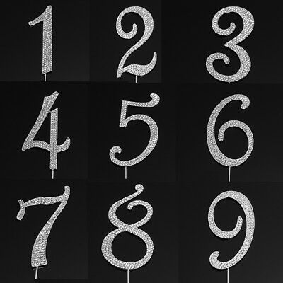 Birthday Cake Number Topper Toppers Pick Decoration Silver Numbers Diamante New
