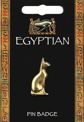Egyptian Cat Gold Plated Pewter Lapel Pin Badge