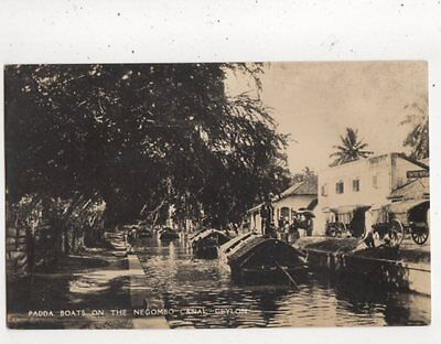 Padda Boats In The Negombo Canal Ceylon Vintage RP Postcard 855a