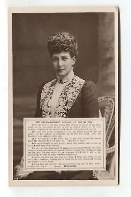 The Queen Mother's Message to the Nation (Alexandra) - old postcard