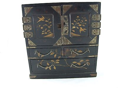 Miniature Chinese black laquer cabinet doll house birds flowers hand painted
