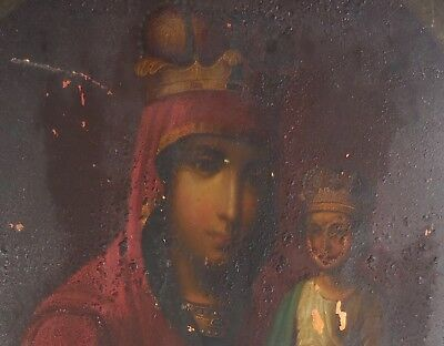 Antique Original ICON Madonna and Child Mother Of God Hand painted OIL on WOOD