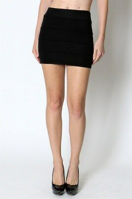 Pencil skirt mini skirt bandage knit sweater bodycon casual career solid black