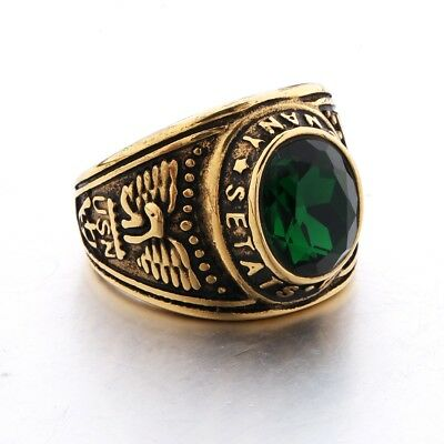 Mens Gold Stainless Steel Large Oval Green Emerald Gem Crystal Rings Jewellery