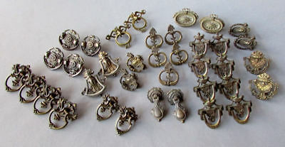 38 ANTIQUE Brass & Bronze DRAWER PULLS circa 1890 - 1910