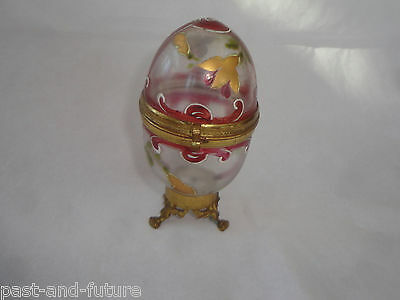 Unusual Victorian Ormolu Footed Enamel Painted Bohemian Egg Shape Dresser Jar