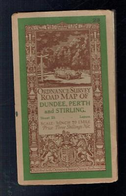 Ordnance Survey Contoured Road Map of Dundee Perth and Sterling. 1913 VG