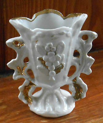 "Antique MANTLE VASE 1880-99 White Porcelain Gold Accents 5"" French or German :"