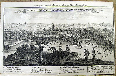 1749 London newspaper w a View of READING  England  & MAP of YORKSHIRE COUNTY