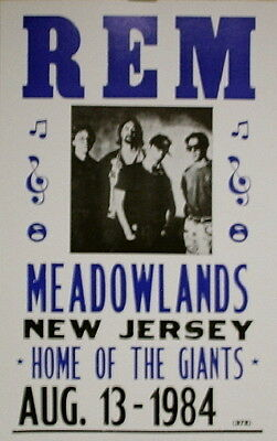 """R.E.M. Concert Poster 1984 at the Meadowlands - New Jersey - 14""""x22"""""""