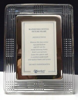 """Waterford Crystal & Silverplate Picture Frame 7 1/2"""" x 6"""" Holds 3""""x 5"""" Photo"""