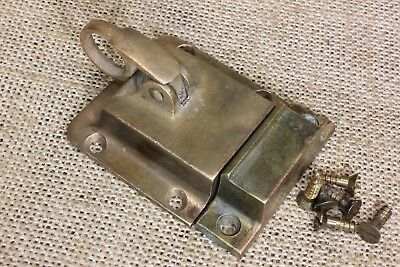 "cabinet ring pull latch catch sash lock old tarnish bronze transom 2 7/8""   #2"