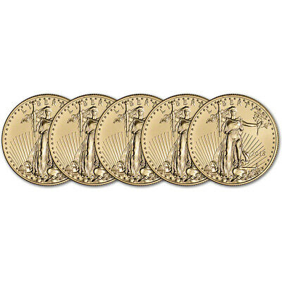 2018 American Gold Eagle (1/2 oz) $25 - BU - Five 5 Coins