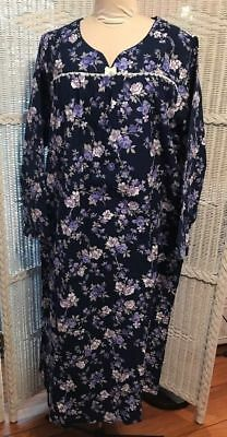 Charter Club S SMALL 100% Cotton Flannel Long Nightgown Gown Navy Floral
