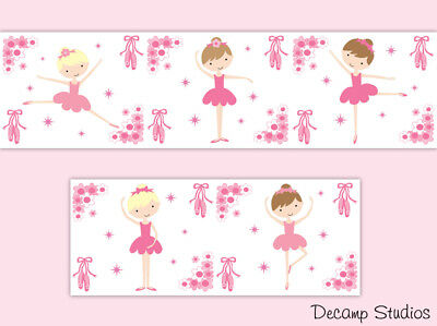 Ballerina Wallpaper Border Wall Art Decals Girl Pink Nursery Room Stickers