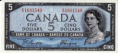 Bank Of Canada  1954 Devil Face $5.00  -Choice  Uncirculated