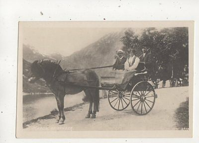 Merok Geiranger Norway Pony & Trap Vintage RP Postcard Horse Transport 617b