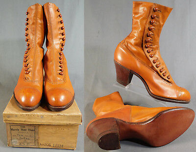 Edwardian Vintage Unworn Womens Brown Tan Leather High Top Button Boots & Box