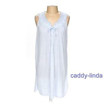Liz Claiborne Villager L Blue Print Long Poly Nightgown Embroidery Buttons Gown