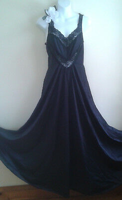 Vintage Black Nightgown Huge Sweep,sz Small, Satiny Nylon Undercover Wear