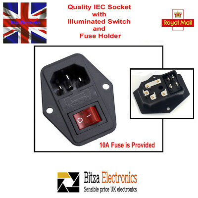 3 Pin IEC320 C14 Inlet Male Power Socket Fused illum Switched 10A 250V UK Seller